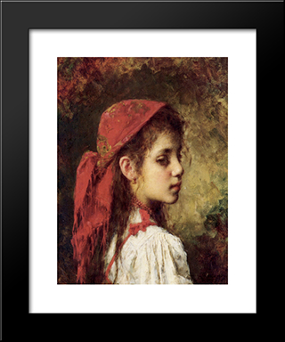 Portrait Of A Young Girl In A Red Kerchief: Modern Black Framed Art Print by Alexei Alexeivich Harlamoff