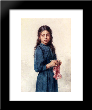 A Young Girl Knitting: Modern Black Framed Art Print by Alexei Alexeivich Harlamoff