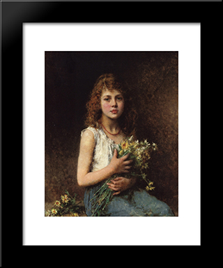 Girl With Spring Flowers: Modern Black Framed Art Print by Alexei Alexeivich Harlamoff