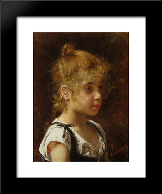Portrait Of A Young Girl: Modern Black Framed Art Print by Alexei Alexeivich Harlamoff