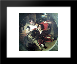 Mrs Maguire And Her Son: Modern Black Framed Art Print by Sir Thomas Lawrence