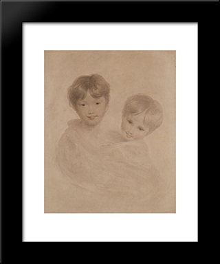Portrait Sketch Of Two Boys ' Possibly George 3Rd Marquees Townshend And His Younger Brother Charles: Modern Black Framed Art Print by Sir Thomas Lawrence