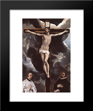 Christ On The Cross Adored By Donors: Modern Black Framed Art Print by El Greco
