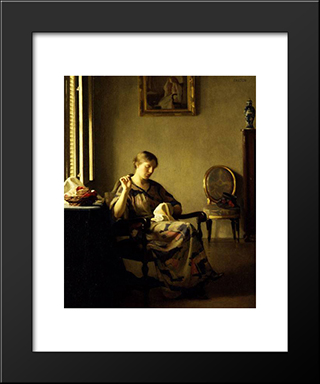 Woman Sewing: Modern Black Framed Art Print by William McGregor Paxton