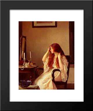 Girl Combing Her Hair: Modern Black Framed Art Print by William McGregor Paxton