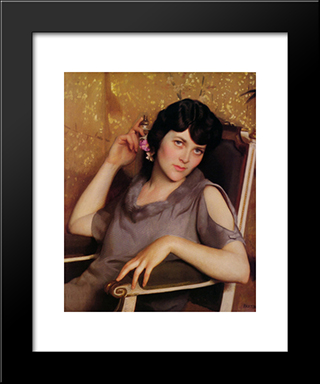 Pretty Girl: Modern Black Framed Art Print by William McGregor Paxton