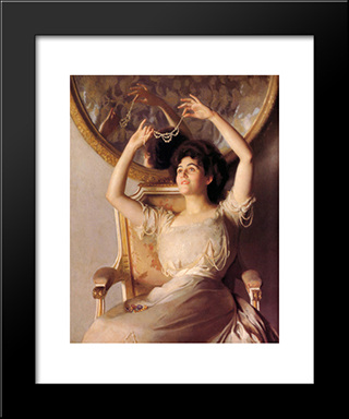 The String Of Pearls: Modern Black Framed Art Print by William McGregor Paxton