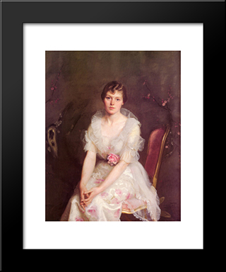 Portrait Of Louise Converse: Modern Black Framed Art Print by William McGregor Paxton