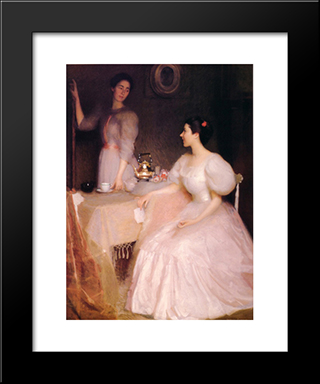 Mollie Scott And Dorothy Tay: Modern Black Framed Art Print by William McGregor Paxton