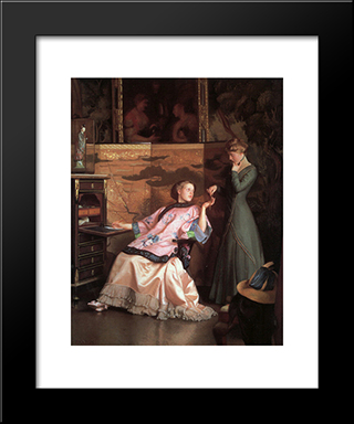 The New Necklace: Modern Black Framed Art Print by William McGregor Paxton