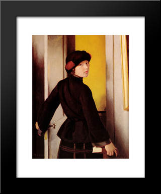 Leaving The Studio: Modern Black Framed Art Print by William McGregor Paxton