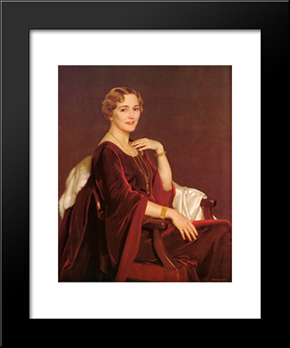 Portrait Of Mrs. Charles Frederic Toppan: Modern Black Framed Art Print by William McGregor Paxton