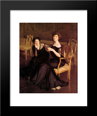 The Sisters: Modern Black Framed Art Print by William McGregor Paxton