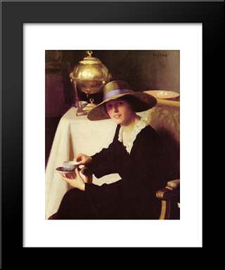 The Samovar: Modern Black Framed Art Print by William McGregor Paxton