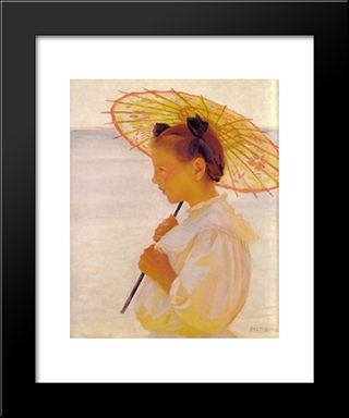 Child In The Sunlight: Modern Black Framed Art Print by William McGregor Paxton