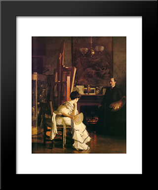 In The Studio: Modern Black Framed Art Print by William McGregor Paxton
