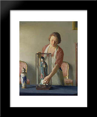 The Figurine: Modern Black Framed Art Print by William McGregor Paxton