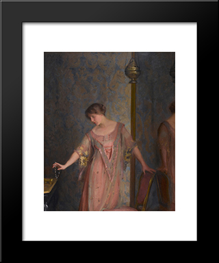 Rose And Blue: Modern Black Framed Art Print by William McGregor Paxton