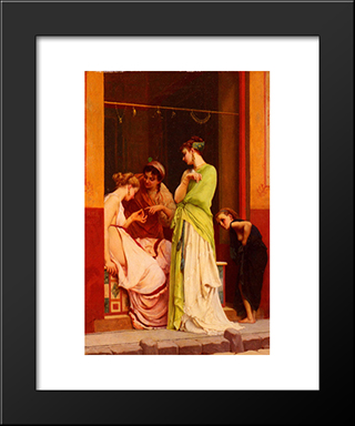 A Seller Of Jewels In Pompeii: Modern Black Framed Art Print by Gustave Boulanger