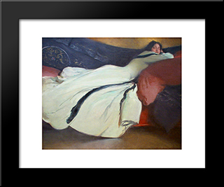 Repose: Modern Black Framed Art Print by John White Alexander