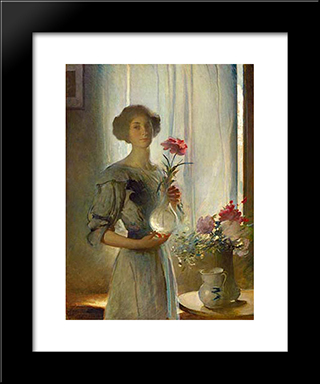 June: Modern Black Framed Art Print by John White Alexander