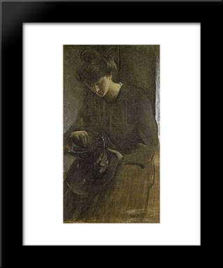 A Toiler: Modern Black Framed Art Print by John White Alexander