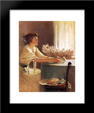 A Meadow Flower: Modern Black Framed Art Print by John White Alexander