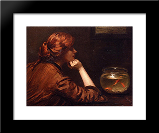 An Idle Moment: Modern Black Framed Art Print by John White Alexander