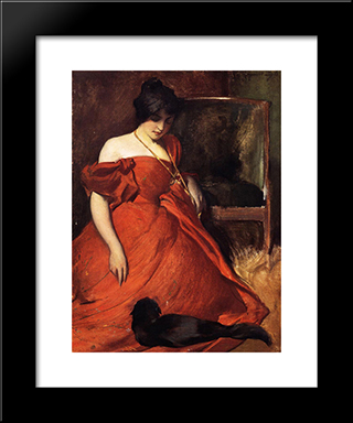 Black And Red: Modern Black Framed Art Print by John White Alexander