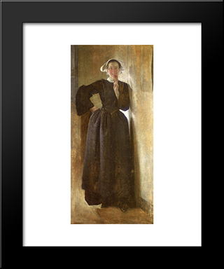 Josephine, The Breton Maid: Modern Black Framed Art Print by John White Alexander