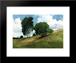 Landscape Painted At Cornish, New Hampshire: Modern Black Framed Art Print by John White Alexander