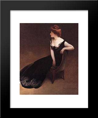 Portrait Of Mrs. V (Mrs. Herman Duryea): Modern Black Framed Art Print by John White Alexander