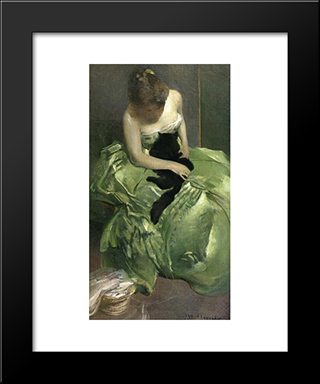 The Green Dress: Modern Black Framed Art Print by John White Alexander