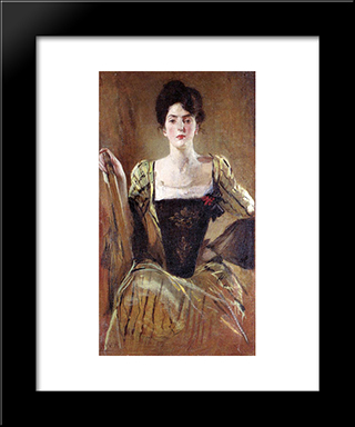 The Green Gown: Modern Black Framed Art Print by John White Alexander