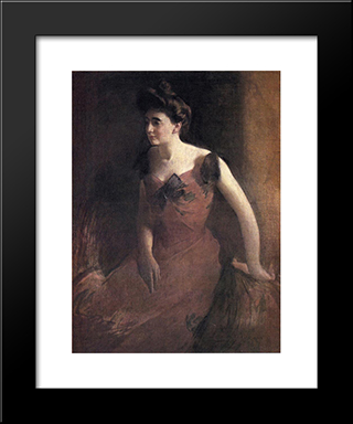Woman In A Red Dress: Modern Black Framed Art Print by John White Alexander