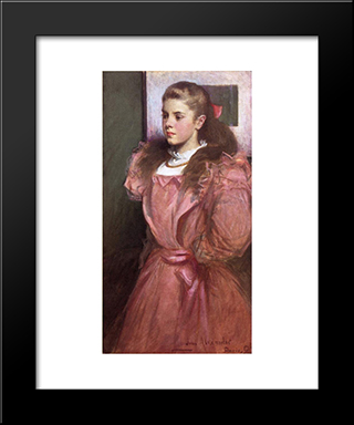 Young Girl In Rose: Modern Black Framed Art Print by John White Alexander