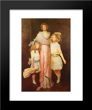 Mrs. Daniels With Two Children: Modern Black Framed Art Print by John White Alexander