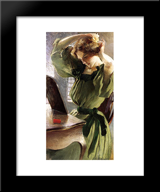 Young Woman Arranging Her Hair: Modern Black Framed Art Print by John White Alexander