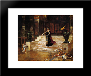 Salome And The Tigers: Modern Black Framed Art Print by Rudolf Ernst