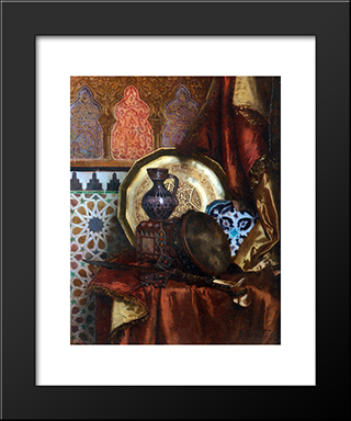 A Tambourine, Knife, Moroccan Tile And Plate On Satin Covered Table: Modern Black Framed Art Print by Rudolf Ernst