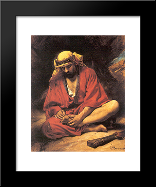 An Arab Removing A Thorn From His Foot: Modern Black Framed Art Print by Leon Bonnat