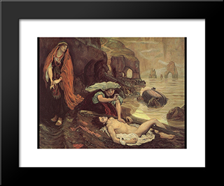 Don Juan Discovered By Haydee: Modern Black Framed Art Print by Ford Madox Brown