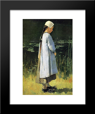 Angelus: Modern Black Framed Art Print by Theodore Robinson