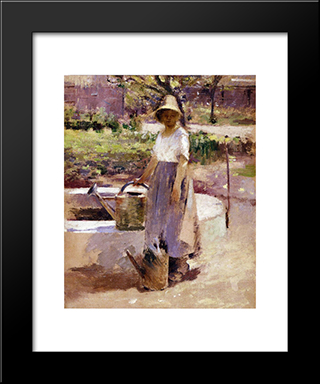 At The Fountain: Modern Black Framed Art Print by Theodore Robinson