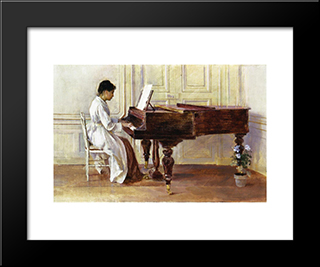 At The Piano: Modern Black Framed Art Print by Theodore Robinson