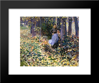 Autumn Sunlight: Modern Black Framed Art Print by Theodore Robinson