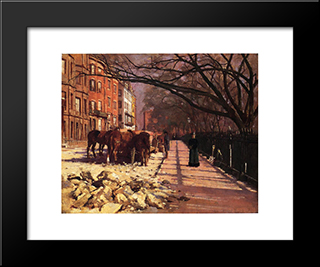 Beacon Street, Boston: Modern Black Framed Art Print by Theodore Robinson