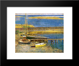 Boats At A Landing: Modern Black Framed Art Print by Theodore Robinson