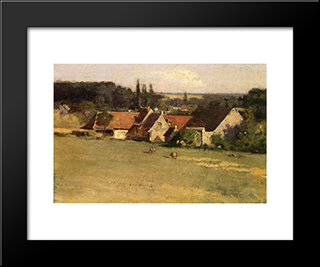 Farmhouse At Grez: Modern Black Framed Art Print by Theodore Robinson