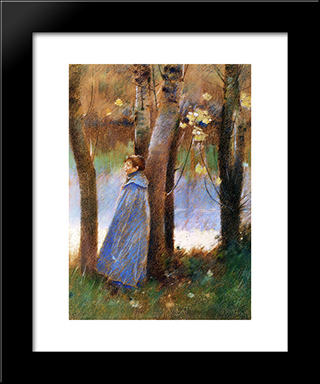 Figure In A Landscape: Modern Black Framed Art Print by Theodore Robinson